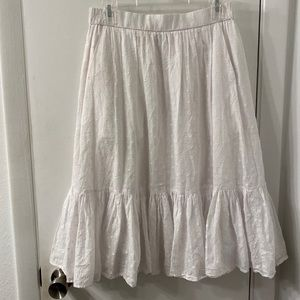 J. Crew White Eyelet Ruffled Skirt W/ Pockets